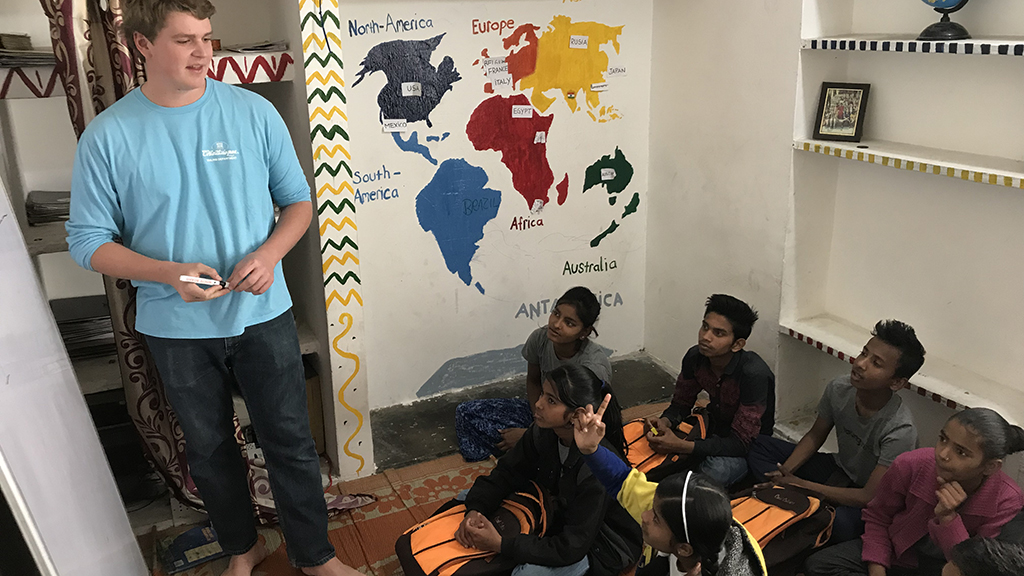 Leading a Class Discussion at the Community Center in India